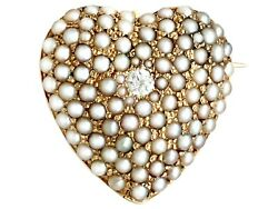 Antique 0.07ct Diamond And Seed Pearl 14ct Yellow Gold Heart Brooch 1900s