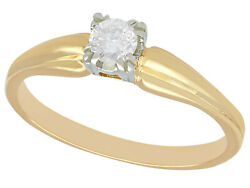 Vintage Circa 1990 0.28ct Diamond And 14k Yellow Gold Solitaire Engagement Ring