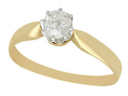 Antique 0.45ct Diamond And 14k Yellow Gold Solitaire Engagement Ring