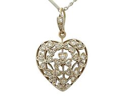 Antique Victorian 0.70 Ct Diamond And 12k Yellow Gold Heart Pendant