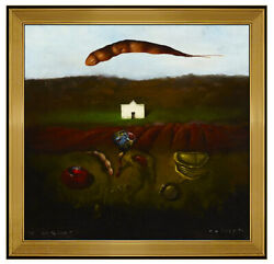 Robert Rasely Original Landscape Painting Oil On Board Surreal Animal Signed Art