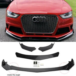 4x Front Bumper Lip Spoiler Lower Splitters Glossy Black For AUDI A3 A4 A5 A6 A7 $61.69