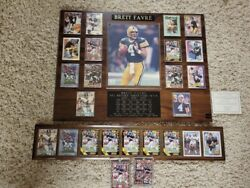 Green Bay Packers Brett Favre Mounted On Wood Plaque Rookie Cards