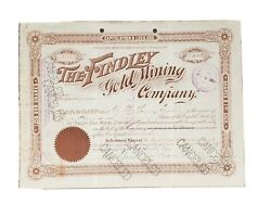 1898 Cripple Creek Co Stock Certificate The Findley Gold Mining Company 1370