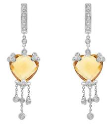 Large 12.05ct Diamond And Aaa Citrine 14kt White Gold Heart Shape Hanging Earrings