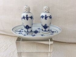 Bing Grondahl Blue Traditional Small Salt And Pepper Shaker On Tray