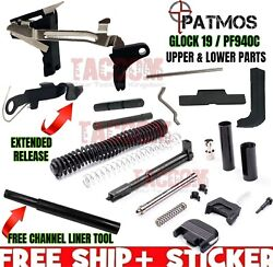 Patmos Upper Slide And Lower Parts Frame Kit Fits Glock 19 Gen 3 And P80 Pf940c 9mm