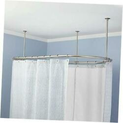 Naiture Stainless Steel Oval Shower Curtain Rod With 72 L X 36 W Chrome