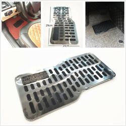 Metal Silver Car Floor Carpet Mats Patch Non-slip Heel Plate Foot Rest Pedal Pad