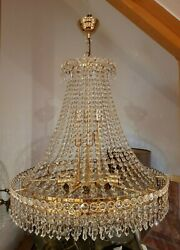 Vintage Modern French Empire Gold Plated Crystal Pair Of Chandelier