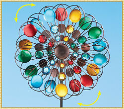 Colorful Beaded Metal Double Wind Spinner Stake Outdoor Yard Lawn Garden Decor