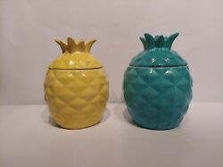 Red Wing Pottery Pineapple Cookie Jar Rare 1940's Pair