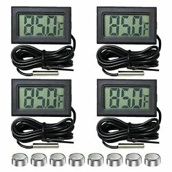 4 Pack Fahrenheit Digital Thermometer Wired For Indoor Outdoor Garden