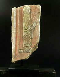 Old Antique Art Painting Figure On Stucco Plaque Fragment From Parthian