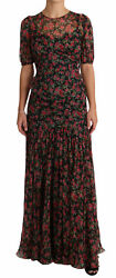 Dolce And Gabbana Dress Women's Black Floral Roses A-line Shift Gown It38/us2/s