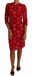 Dolce And Gabbana Dress Women's Floral Crochet Lace Red Pink Sheath It40/us4/m