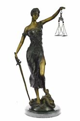 Collectible Bronze Sculpture Statue Historical Figures Blind Lady Of Justice Art