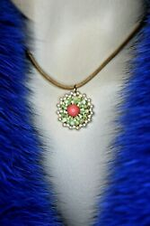 Miguel Ases Brown Cord G.f. Pearl Coral Look Rosette Pend 1 Necklace 16-18
