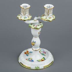 Herend Queen Victoria Two Light Candle Holder 7915/vbo Iii.