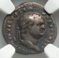 69-79 Ad Rome Vespasian Ar Quinarius Ngc Ch F 4/5 2/5 Rare With Rev Of Victory