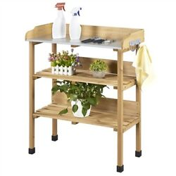 Garden 3 Tier Potting Bench Table Outdoor Work Station Workbench Natural Wood