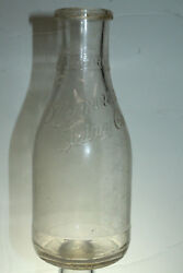 Chicago Ill Plymouth Dairy Co One Quart Clear Glass Milk Bottle