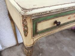 Antique Dressing Table Carved Painted Roses 1780-1810q