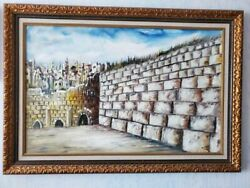 Western Wall In Jerusalem Holly Land Oil Painting On Canvas In Gold Wood Frame 4