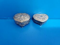 Vtg Lot Of 2 Silver Red Velvet-lined Footed And Hinged Trinket Boxes Japan