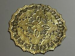 """Vintage 48 Gold Metallic Lace Paper Doilies 4"""" Hollywood Regency Coaster Craft"""