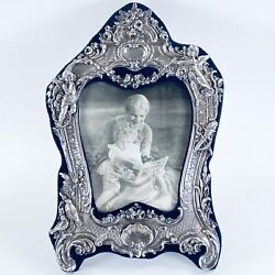 Victorian Style English Repousse Sterling Silver Picture Frame Mandls London 1987
