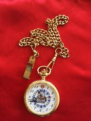"""""""movt Japan"""" Lionel Trains Pocket Watch Train On Face. Railroad Track Moves"""
