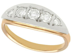 Vintage 0.82ct Diamond And 14k Rose Gold Dress Ring - Russian
