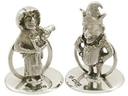 Antique George V Sterling Silver And039punch And Judyand039 Card/menu Holders