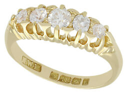 Antique 0.78ct Diamond And 18k Yellow Gold Five Stone Ring - 1903 - Size 6.5