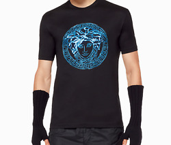 Versace Crystal Stoned Model Men T-shirt - Black Color - All Sizes