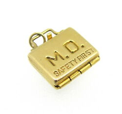 M.d. Safety First Doctorand039s Bag With Tools 14k Gold Movable Charm