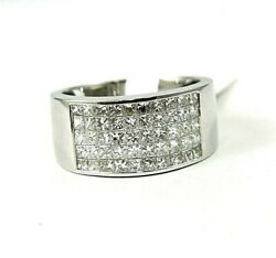 Princess Cut Diamond Cluster Invisible Wide Ring Band 18k White Gold 1.42ct