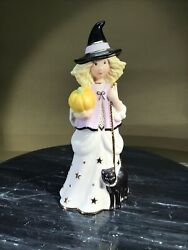Vtg Lenox Figurine Young Girl Dressed As Witch With Pumpkin And Black Cat
