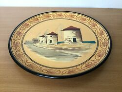Hand Made In Greece Pottery Wall Hanger Plate Yellow With Black Edge Barns 9