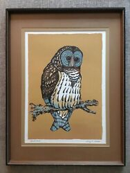 Larry K. Martin_signed Lr_silkscreen_5 Colors_barred Owl_masterful_exc_ship Free