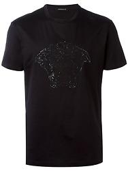 Versace Crystal Stoned Model Men T Shirt - Black Or White Color - All Sizes