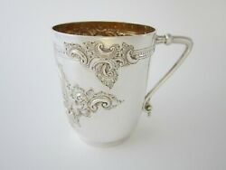 Antique Victorian Sterling Silver Half Pint Mug - 1889 By Samuel And Alfred Fenton