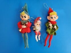 Lot Of 3 Vintage Japan Elves With Musical Instruments