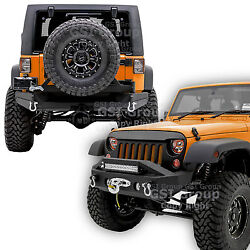 Front+rear Bumper+tire Carrier+2 Hitch+double Plate For 07-18 Jeep Jk Wrangler