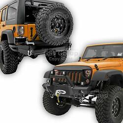 Front+rear Bumper+tire Carrier+2hitch+2x Plate Combo For 07-18 Jeep Jk Wrangler