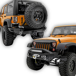 Front+rear Bumper+tire Carrier+2 Hitch+dual Plate For 07-18 Jeep Jk Wrangler