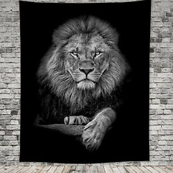 White amp; Black Tapestry Animals Lion Mandala Hippie Home Wall Hanging Decorations