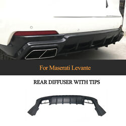 Fit For Maserati Levante 2016-2019 Carbon Rear Bumper Diffuser With Exhaust Tips