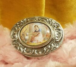 Antique Austrian Sterling Silver With Enamel Plaque Pill Box